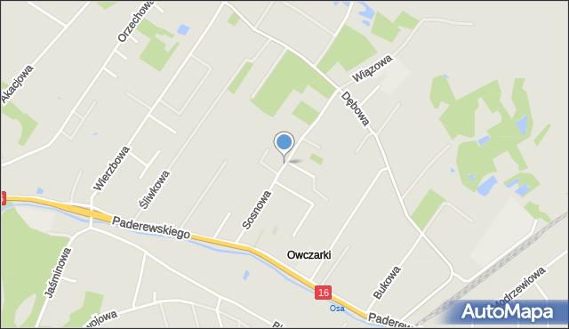Grudziądz, Sosnowa, mapa Grudziądza