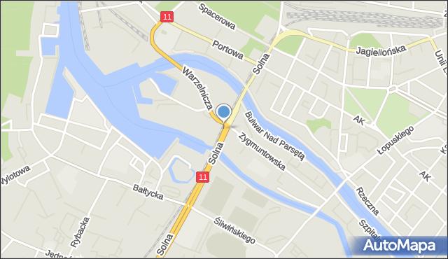 Kołobrzeg, Solna, mapa Kołobrzegu