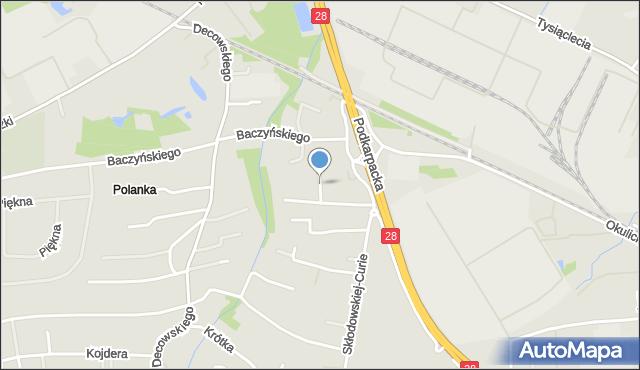 Krosno, Sosnowa, mapa Krosna