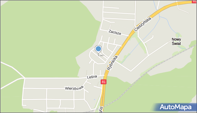 Łaziska Górne, Sosnowa, mapa Łaziska Górne