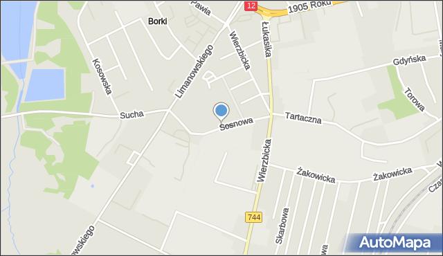 Radom, Sosnowa, mapa Radomia