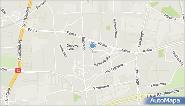 Toruń, Sobkowiaka Andrzeja, mapa Torunia