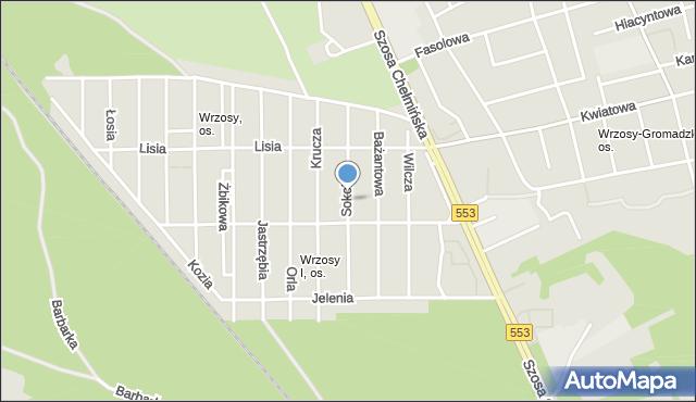 Toruń, Sokola, mapa Torunia
