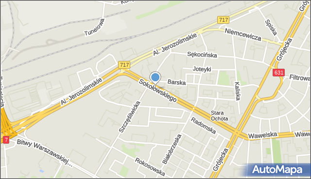 Warszawa, Sokołowskiego Mieczysława, ppłk., mapa Warszawy