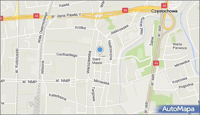Częstochowa, Spadek, mapa Częstochowy