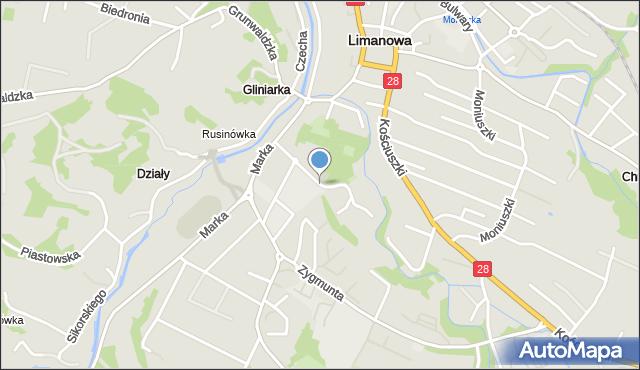 Limanowa, Spacerowa, mapa Limanowa