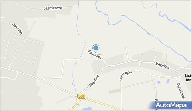 Lisie Jamy gmina Lubaczów, Sportowa, mapa Lisie Jamy gmina Lubaczów