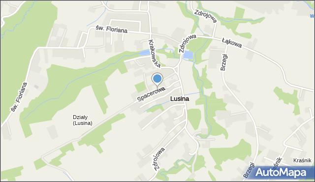 Lusina gmina Mogilany, Spacerowa, mapa Lusina gmina Mogilany