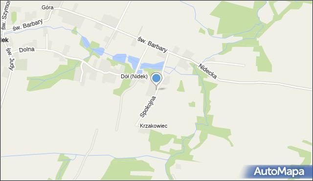 Nidek, Spokojna, mapa Nidek