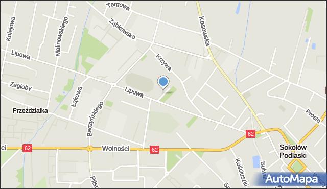 Sokołów Podlaski, Sportowa, mapa Sokołów Podlaski