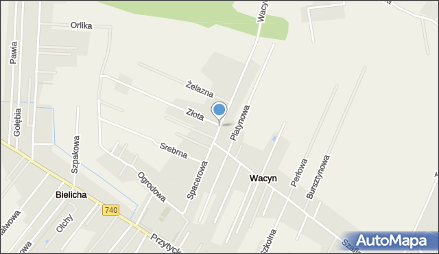 Wacyn, Spacerowa, mapa Wacyn