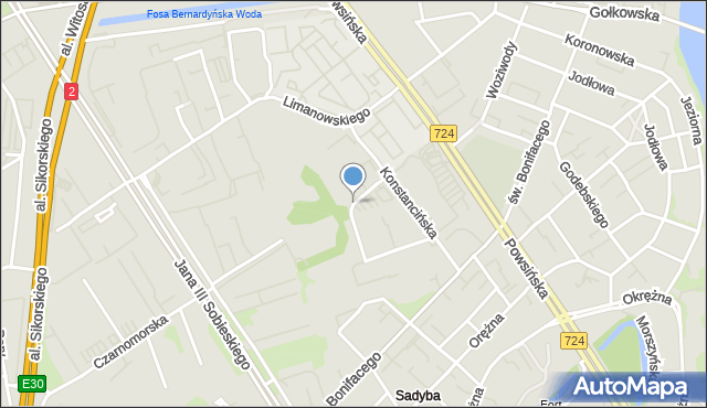 Warszawa, Spalska, mapa Warszawy