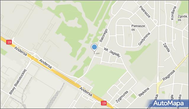 Białystok, Stefana Batorego, mapa Białegostoku