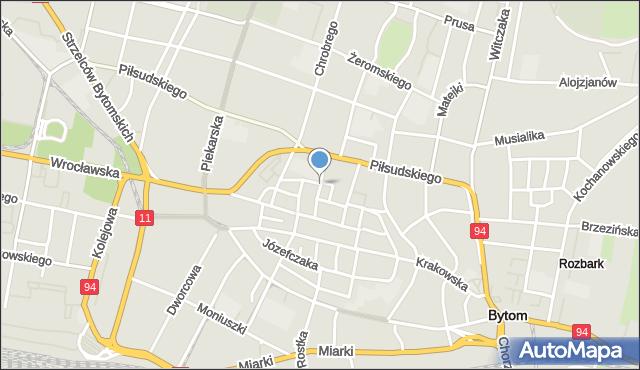 Bytom, Strażacka, mapa Bytomia
