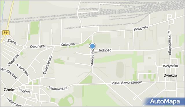 Chełm, Starościńska, mapa Chełma