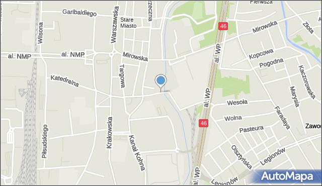 Częstochowa, Strażacka, mapa Częstochowy