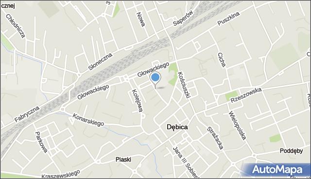 Dębica, Strumskiego, mapa Dębicy