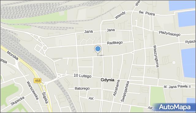 Gdynia, Starowiejska, mapa Gdyni