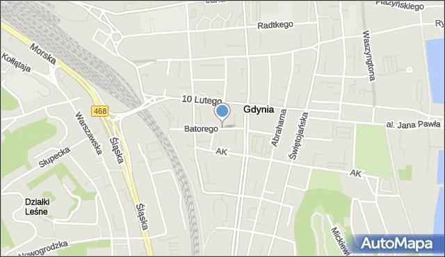 Gdynia, Stefana Batorego, mapa Gdyni