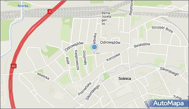 Gliwice, Stabika Antoniego, mapa Gliwic