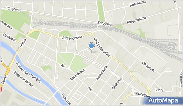 Kołobrzeg, Strzelecka, mapa Kołobrzegu