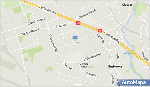 Krosno, Stefana Batorego, mapa Krosna
