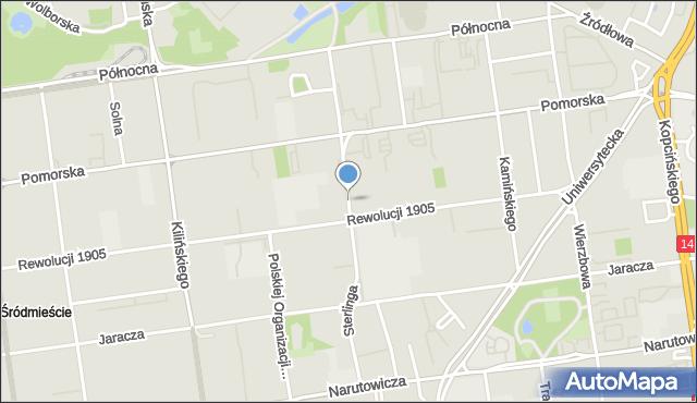 Łódź, Sterlinga Seweryna, dr., mapa Łodzi