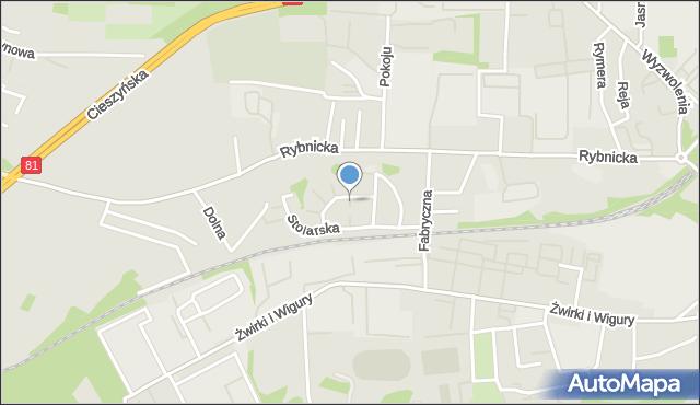 Mikołów, Stolarska, mapa Mikołów