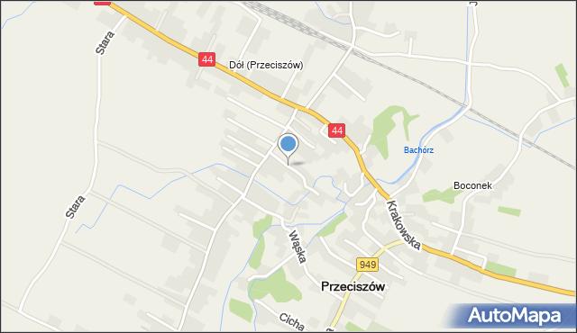 Przeciszów, Strażacka, mapa Przeciszów