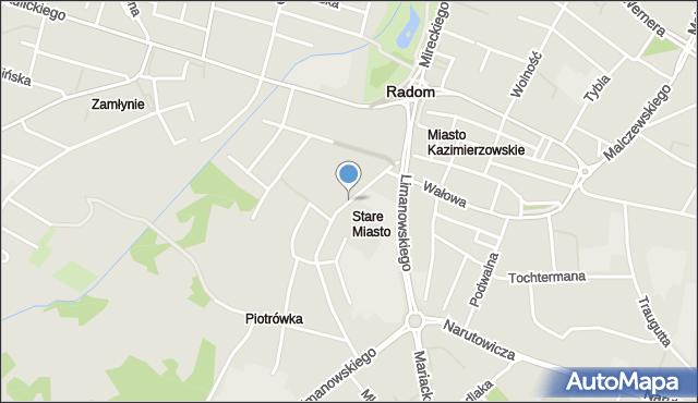 Radom, Staromiejska, mapa Radomia