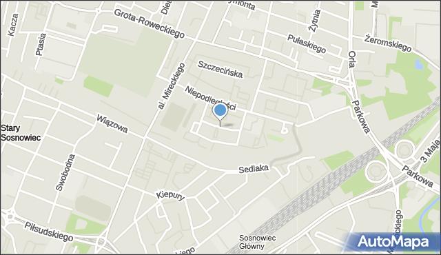 Sosnowiec, Strażacka, mapa Sosnowca