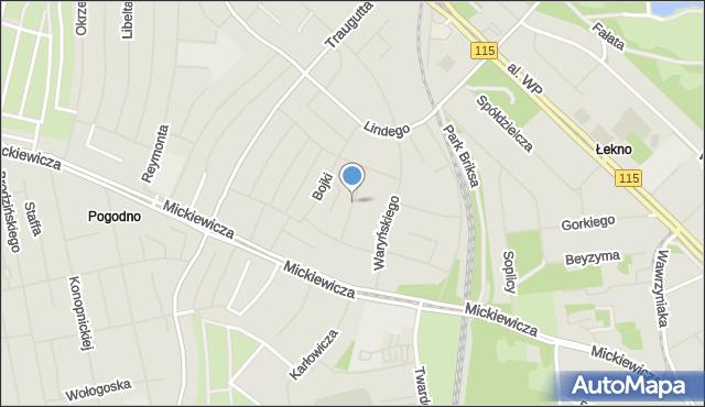 Szczecin, Stojałowskiego Stanisława, ks., mapa Szczecina