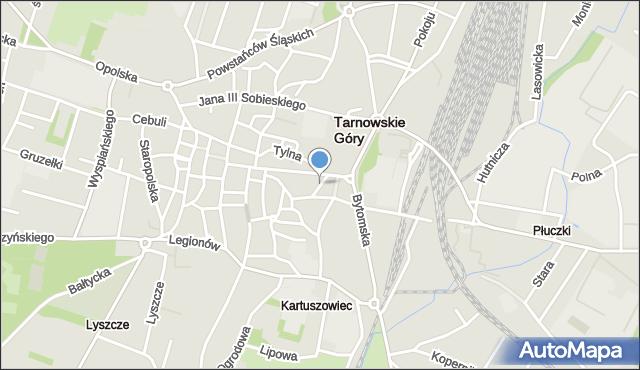 Tarnowskie Góry, Staropocztowa, mapa Tarnowskie Góry