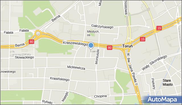 Toruń, Stwosza Wita, mapa Torunia