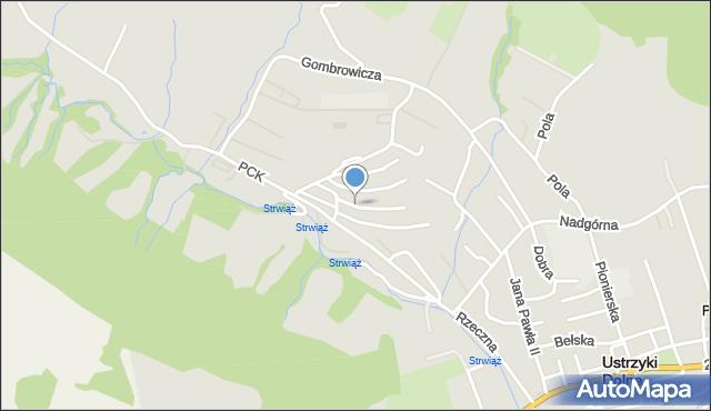 Ustrzyki Dolne, Stefana Batorego, mapa Ustrzyki Dolne