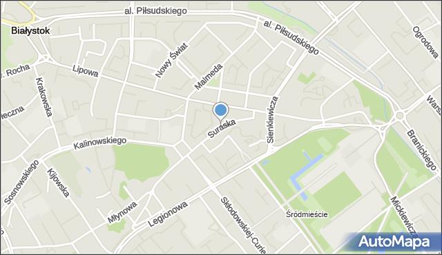 Białystok, Suraska, mapa Białegostoku