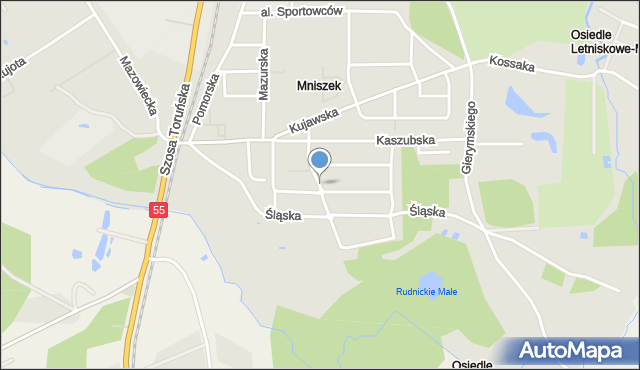 Grudziądz, Sudecka, mapa Grudziądza