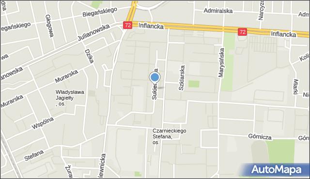 Łódź, Sukiennicza, mapa Łodzi