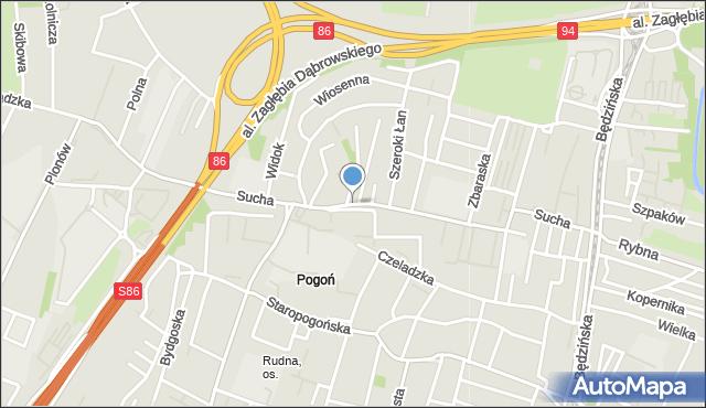 Sosnowiec, Sucha, mapa Sosnowca