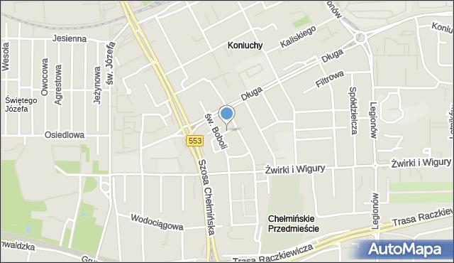 Toruń, Sucha, mapa Torunia