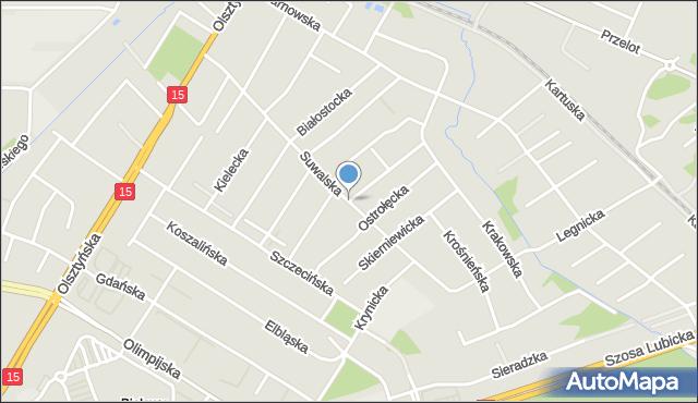 Toruń, Suwalska, mapa Torunia