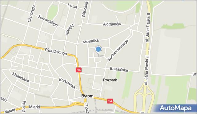 Bytom, św. Kingi, mapa Bytomia