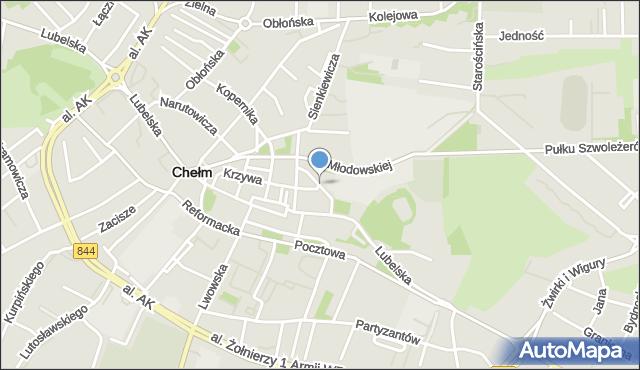 Chełm, św. Mikołaja, mapa Chełma