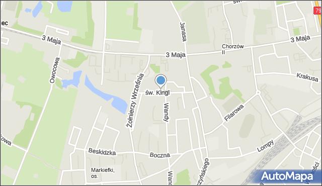 Chorzów, św. Kingi, mapa Chorzów