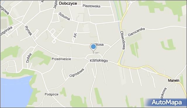 Dobczyce, św. Anny, mapa Dobczyce