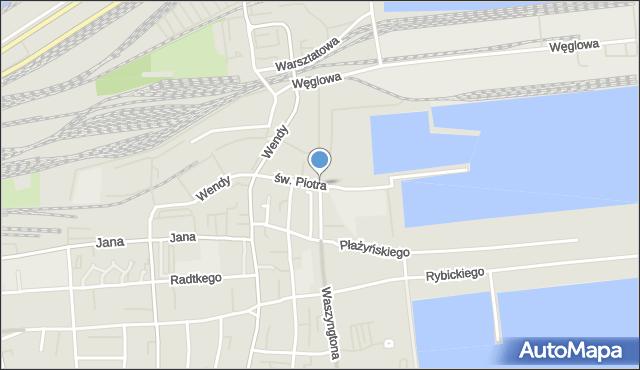 Gdynia, św. Piotra, mapa Gdyni