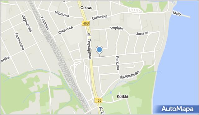 Gdynia, Światowida, mapa Gdyni