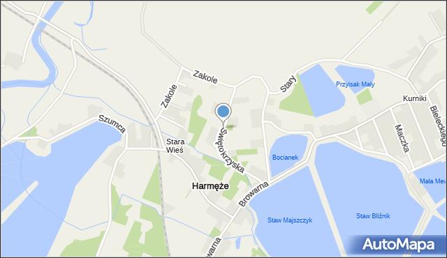 Harmęże, Świętokrzyska, mapa Harmęże