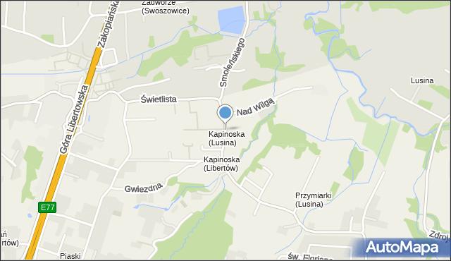 Lusina gmina Mogilany, Świetlista, mapa Lusina gmina Mogilany