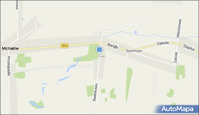 Michałów gmina Poczesna, Świerkowa, mapa Michałów gmina Poczesna